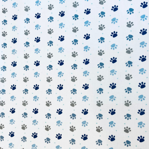 Paw Prints Blue 100% Cotton Fabric