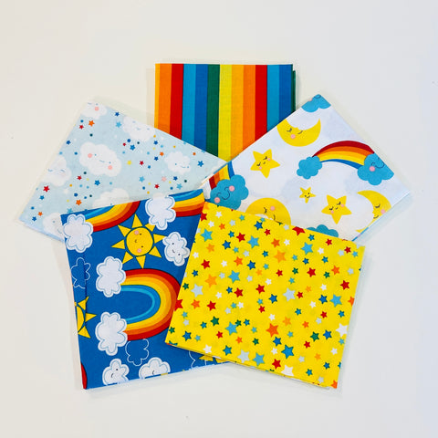 3 Wishes Happy Clouds & Rainbows Fat Quarter Pack