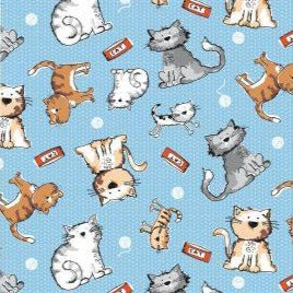 The Craft Cotton Co Friendly Cats - Cats Blue - 100% Cotton Fabric