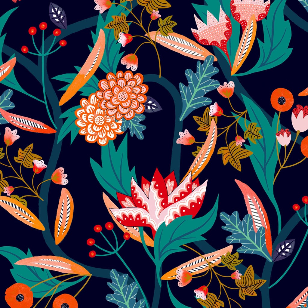 Dashwood Gardenier Floral Navy Rayon Fabric