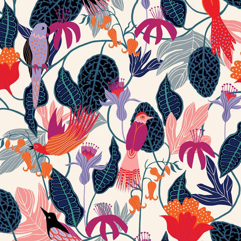 Dashwood Gardenier Birds Cream Rayon Fabric