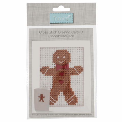 Trimits Gingerbread Man Christmas Cross Stitch Card Kit