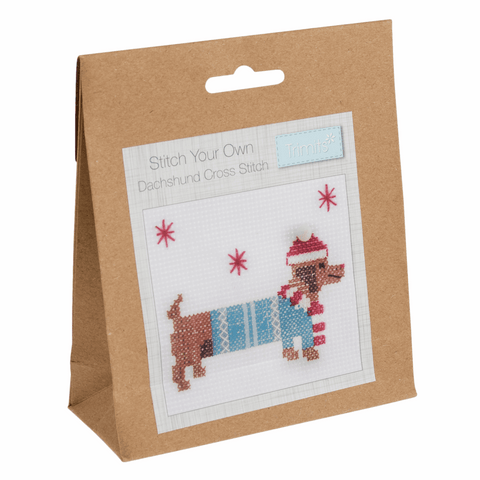 Trimits Festive Daschund Mini Counted Cross Stitch Kit