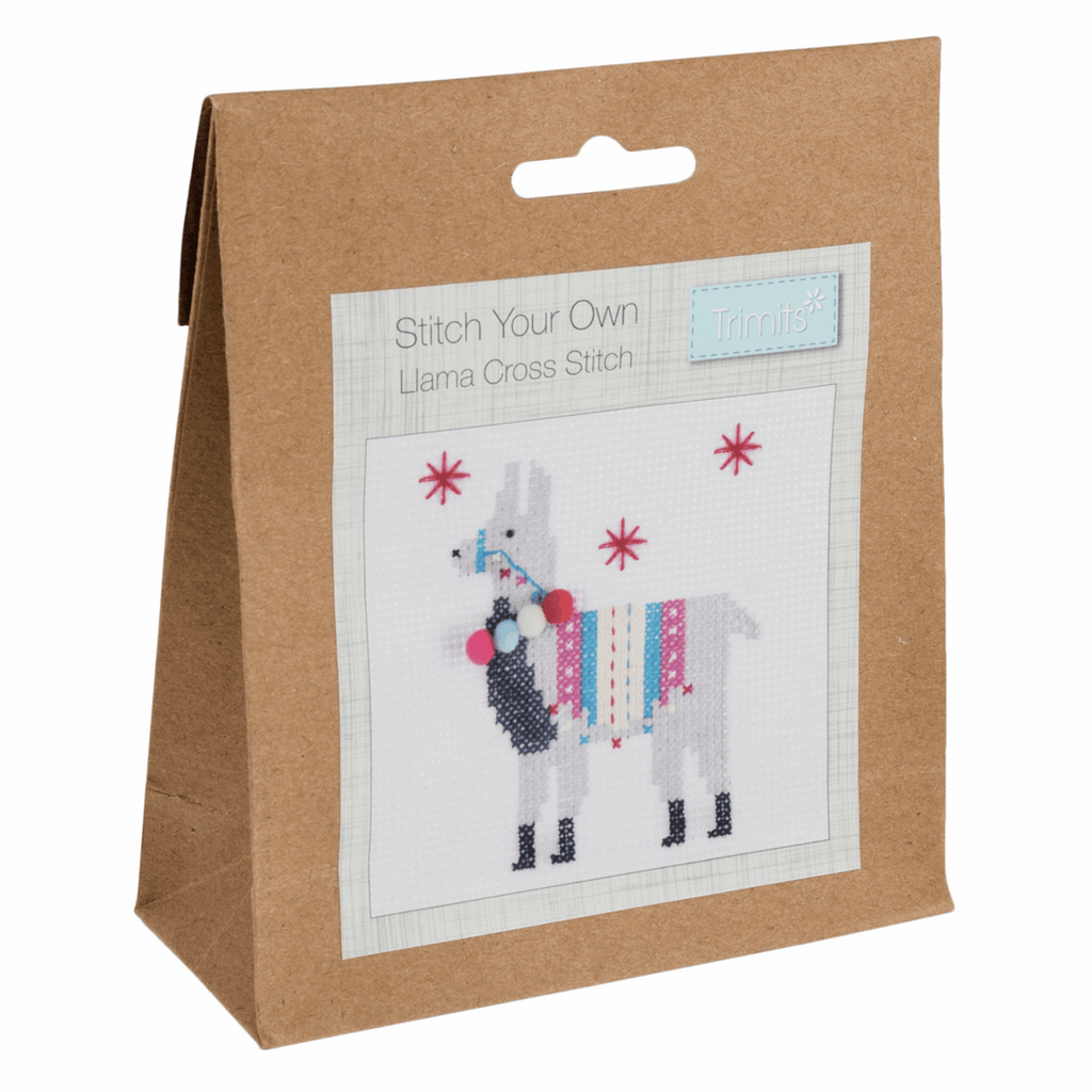 Trimits Fleece Navidad Llama Mini Counted Cross Stitch Kit