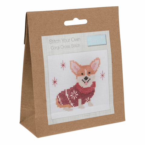 Trimits Festive Corgi Mini Counted Cross Stitch Kit