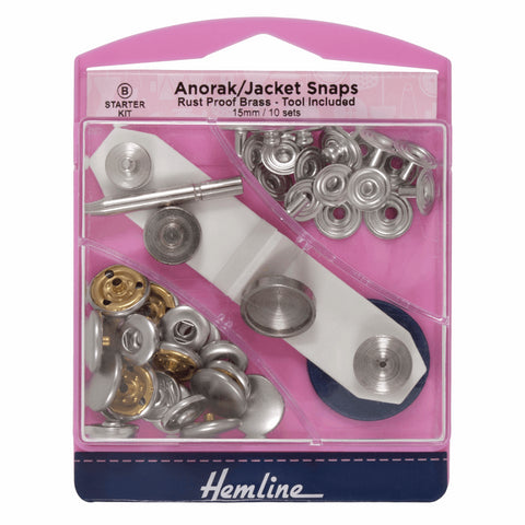 Hemline 15mm 'Anorak' Metal Snap Press Fasteners with Tool - Nickel