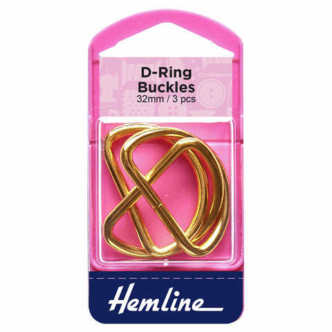 Hemline 32mm D Rings - Gold