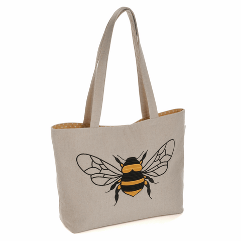 Linen Bee Shoulder Tote Bag