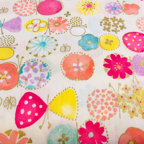 Sevenberry - Bright Butterfly Garden (Metallic) - 100% Cotton Fabric