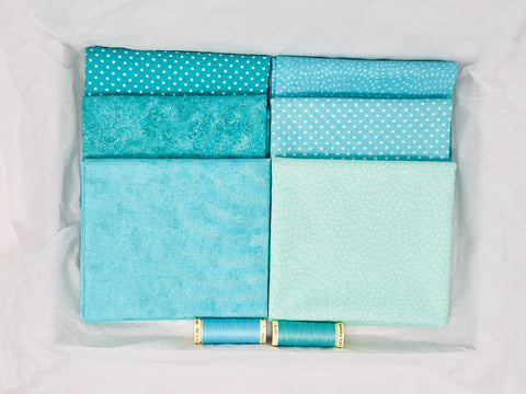 One-Off Fabric Box - Blue Basics