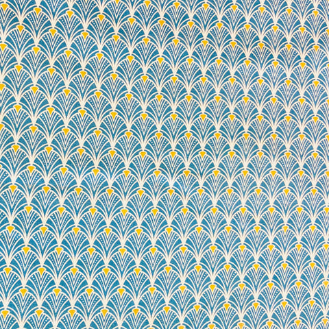 Deco Scallop Blue 100% Cotton Fabric