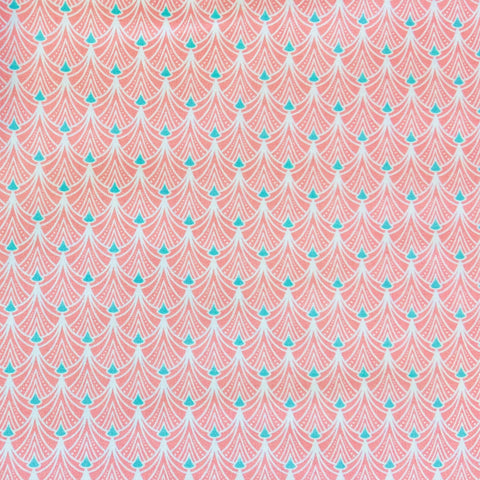 Deco Scallop Salmon 100% Cotton Fabric
