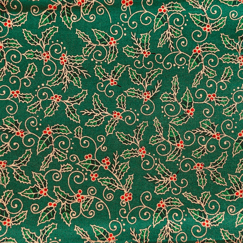 The Craft Cotton Co Traditional - Holly Green (metallic) - 100% Cotton Fabric