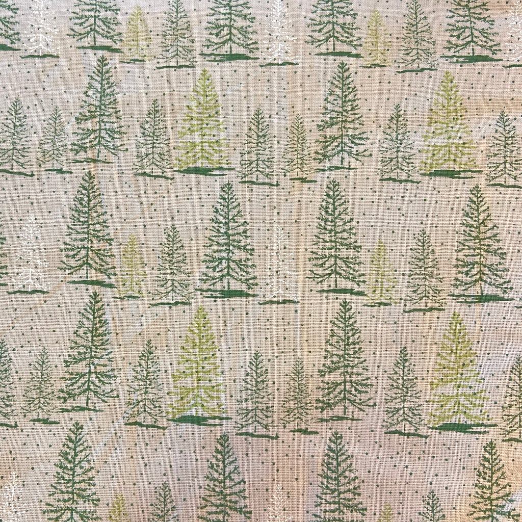 The Craft Cotton Co Traditional Christmas - Snowy Tree  - 100% Cotton Fabric
