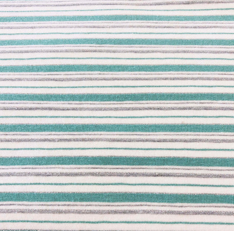 Mint/Silver Cotton Lurex Stripe Jersey Fabric