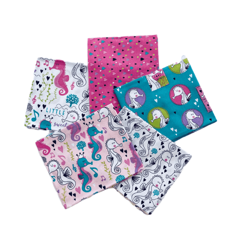 The Craft Cotton Co Sweet Little Seahorses Fat Quarter Pack