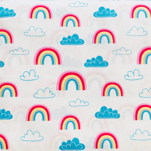 The Craft Cotton Co Rainbows & Clouds - Rainbows White - 100% Cotton Fabric