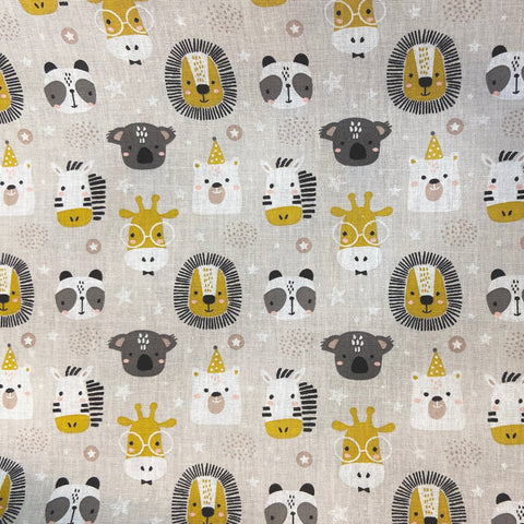 Little Animal Heads Grey 100% Cotton Fabric
