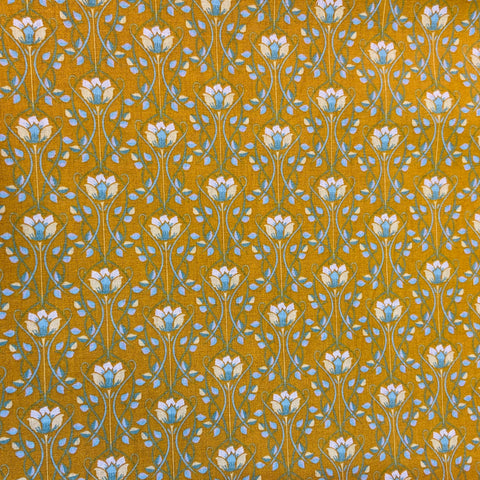 Deco Floral Mustard 100% Cotton Fabric