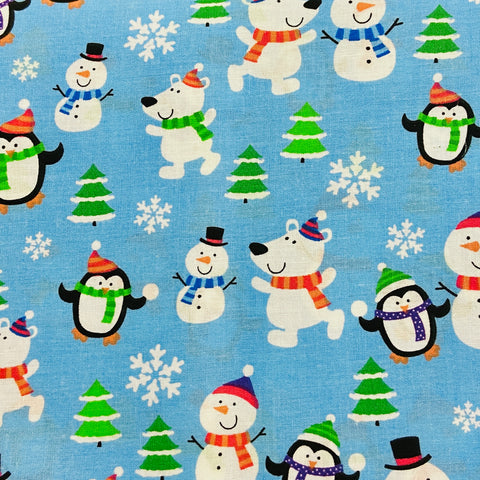 Kingfisher Fabrics Tis the Season - Snow Friends - 100% Cotton Fabric