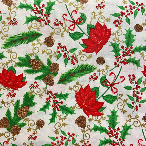 Kingfisher Fabrics Tis the Season - Traditional Christmas (metallic) - 100% Cotton Fabric