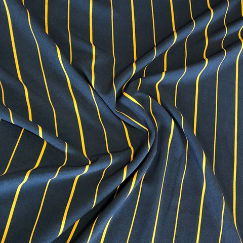 Navy/Mustard Stripe Stretch Crepe Fabric