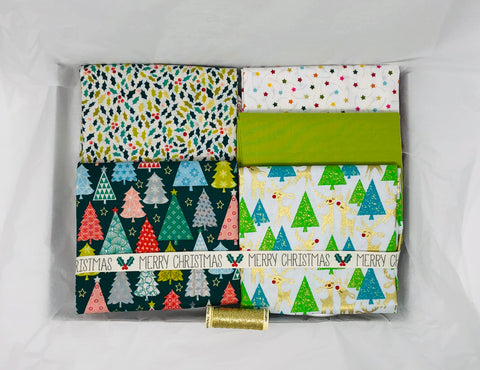 One-Off Luxury Fabric Box - Christmas Trees