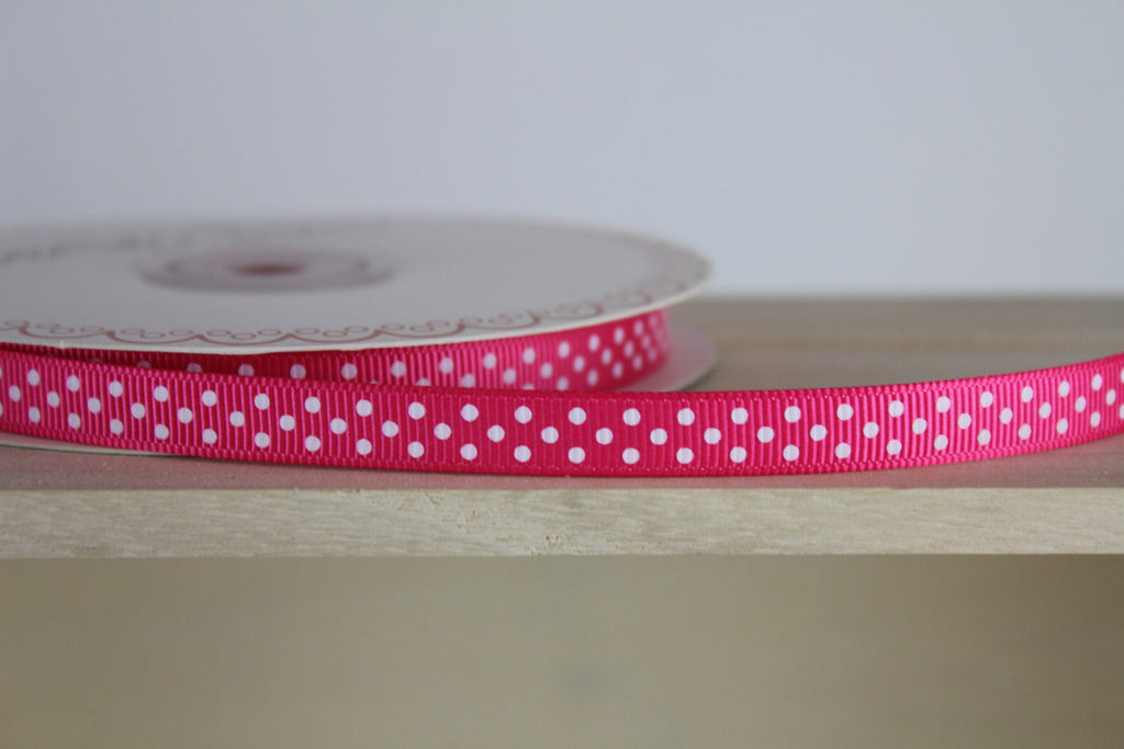 Pink Polka Dot Ribbon by Berties Bows | Haberdashery Shop Online