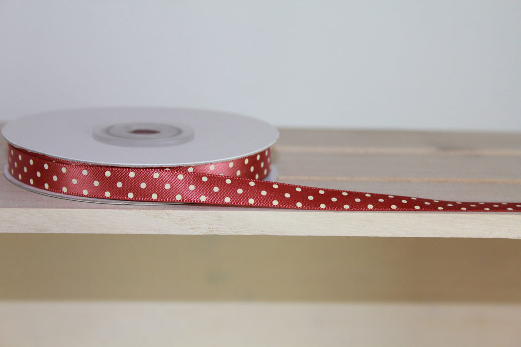 Peach Ribbon - Polka Dot Ribbon | Online Haberdashery