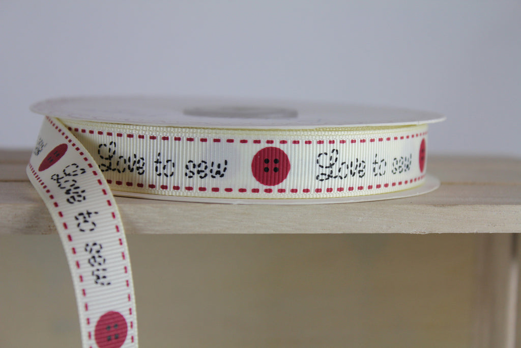 love to sew printed grosgrain ribbon