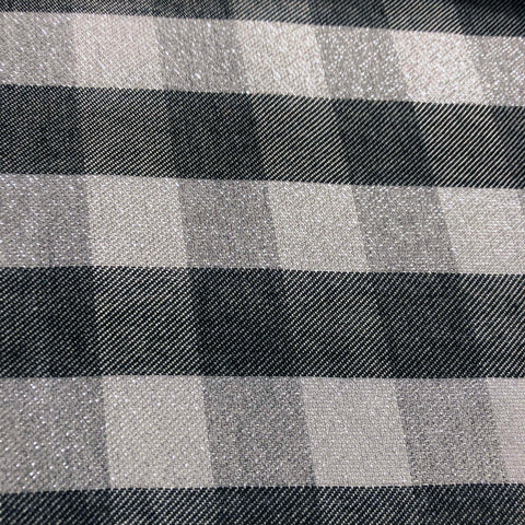 Metallic Gingham Check Viscose Fabric
