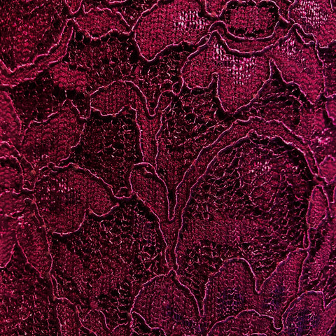 Wine Heavy Corded Lace Fabric