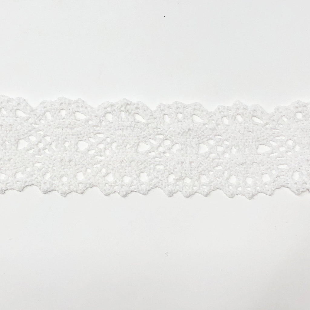 40mm Scalloped Edge White Eyelash Lace Trim