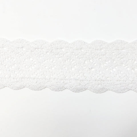 60mm Scalloped Edge White Lace Ribbon