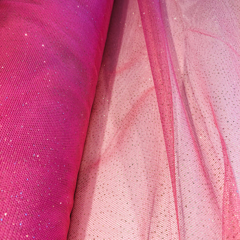 Pink Glitter Tulle Fabric