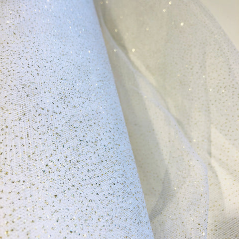 White Glitter Tulle Fabric