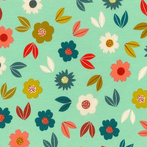 Pretty Petals Mint Printed French Terry Fabric