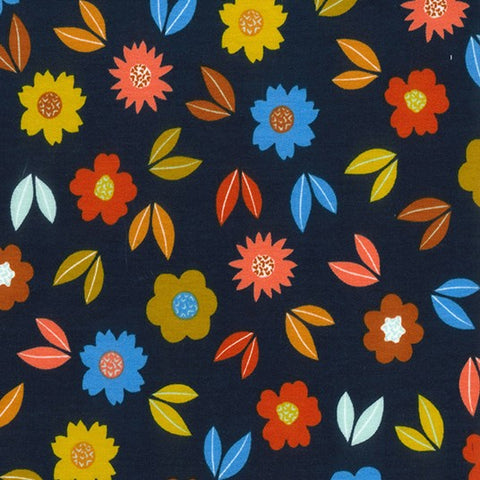 Pretty Petals Navy Printed French Terry Fabric