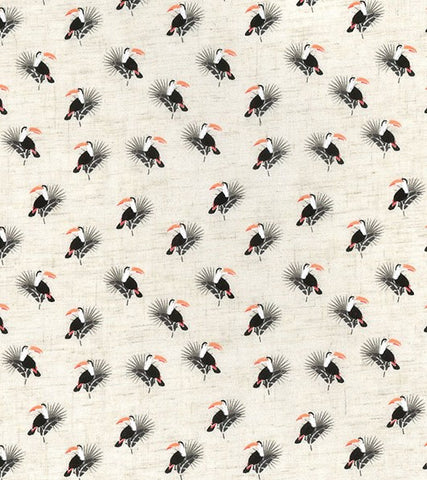 Tiny Toucans Printed Linen Viscose Fabric