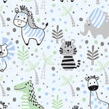 Baby Animals Blue Cotton Jersey Fabric