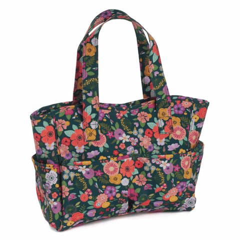 Floral Garden Green PVC Craft Bag