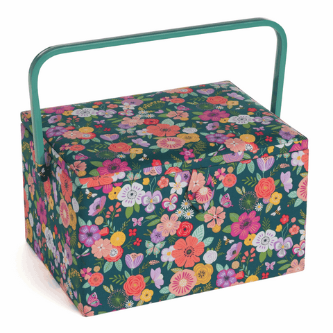 Floral Garden Green Large Sewing Box