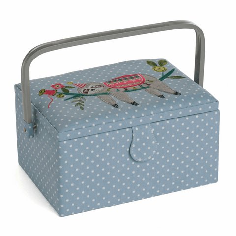 Sloth Embroidered Medium Sewing Box