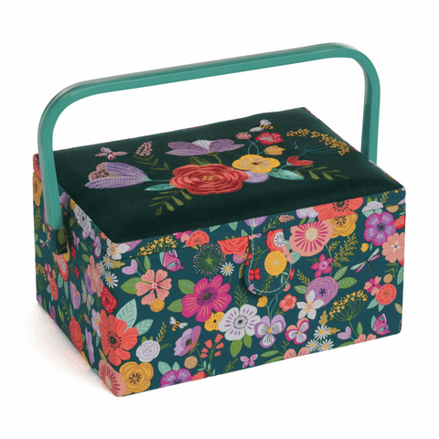 Floral Garden Green Embroidered Medium Sewing Box