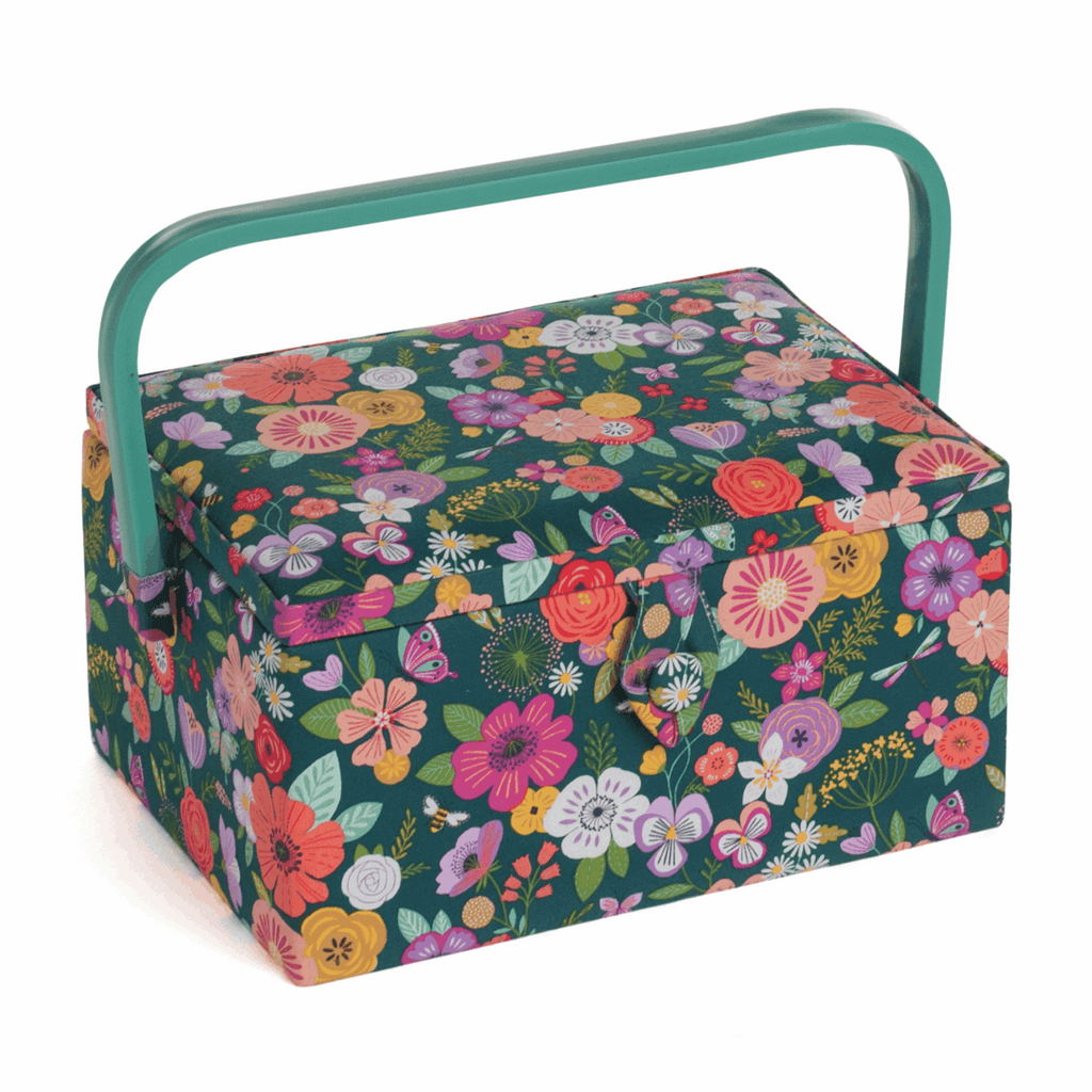 Floral Garden Green Medium Sewing Box