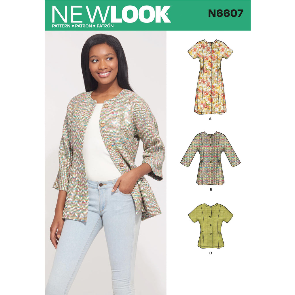 New Look Sewing Pattern N6607 - Misses' Mini Dress, Tunic and Top