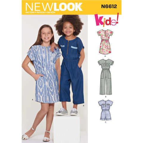New Look Sewing Pattern N6612 - Children's, Girls' Jumpsuit, Romper and Dress
