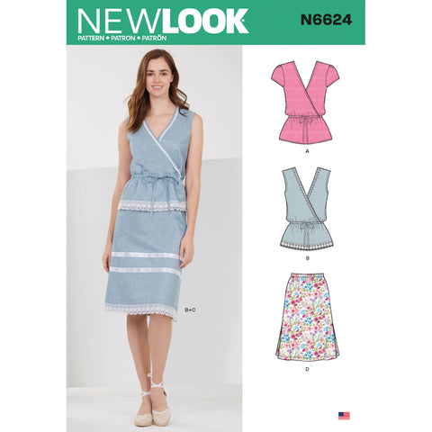 New Look Sewing Pattern N6624 - Misses' Tops and Pull On Skirts