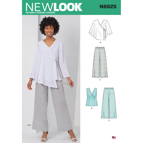 New Look Sewing Pattern N6625 - Misses' Tops and Pull On Trousers