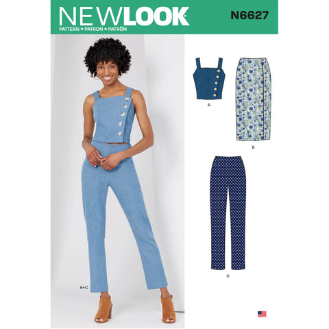 New Look Sewing Pattern N6627 - Misses' Top, Skirt and Trousers